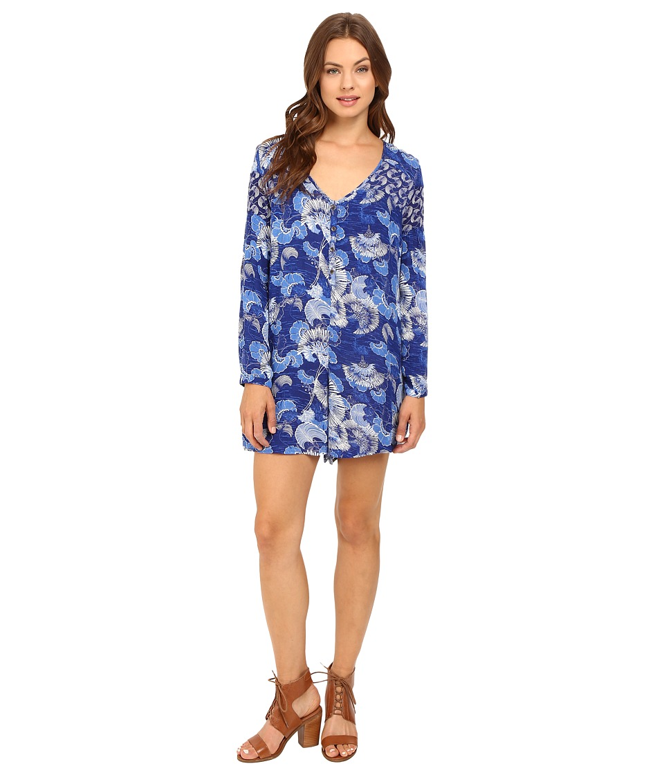 Roxy - Metric Match Romper (Perpetual Flower Blue Print) Women's Jumpsuit & Rompers One Piece