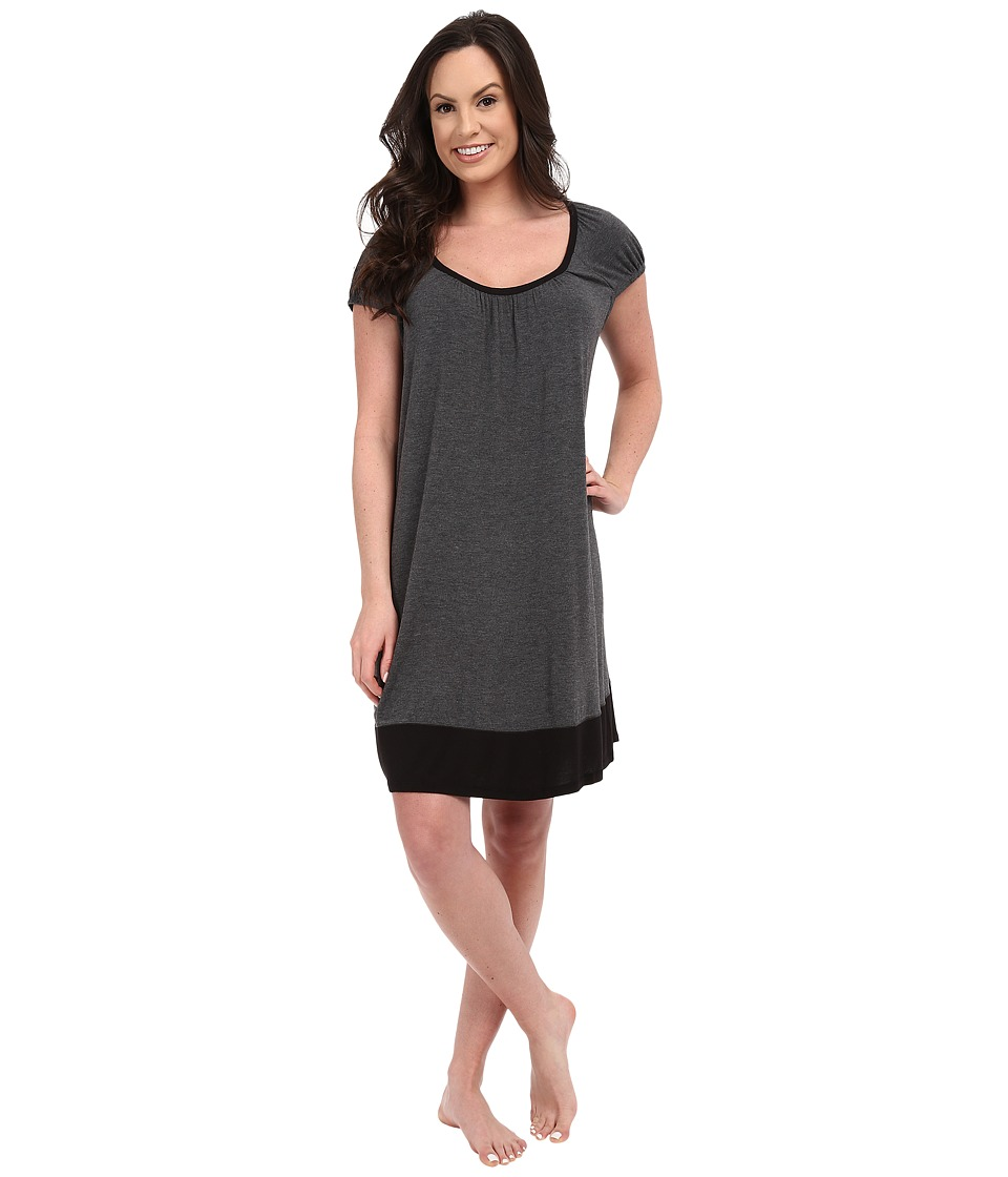 DKNY - Urban Essentials Cap Sleeve Short Sleepshirt (Heather Coal) Women's Pajama