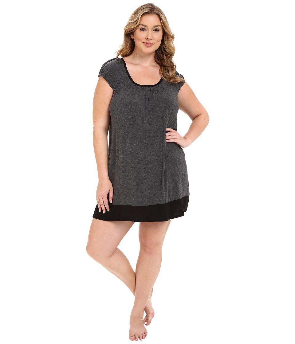 DKNY - Plus Size Urban Essentials Cap Sleeve Short Sleepshirt (Heather Coal) Women's Pajama