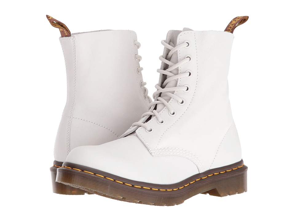 Dr. Martens - Pascal 8-Eye Boot (White Virginia) Women's Lace-up Boots