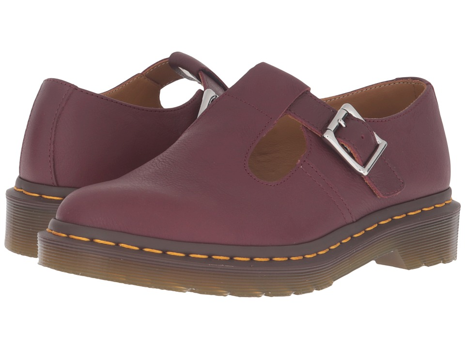 Dr. Martens - Polley T-Bar Mary Jane (Cherry Red Virginia) Women's Maryjane Shoes