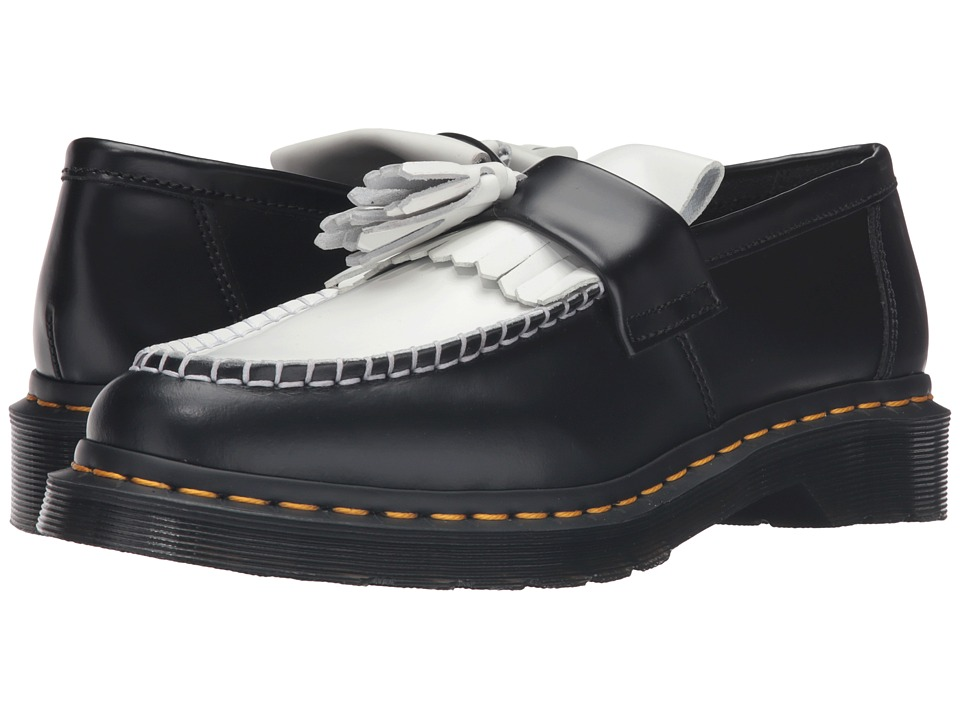 Dr. Martens - Adrian Tassle Loafer (Black/White Smooth) Women's Shoes