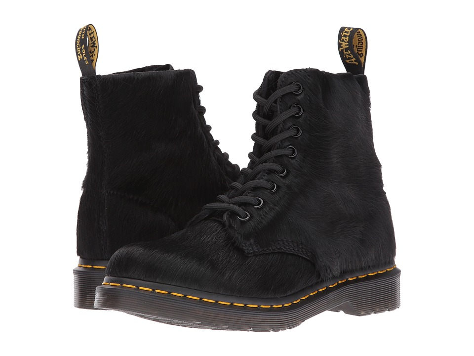 Dr. Martens - Pascal Hair 8-Eye Boot (Black Horsey Long Hair) Women's Lace-up Boots
