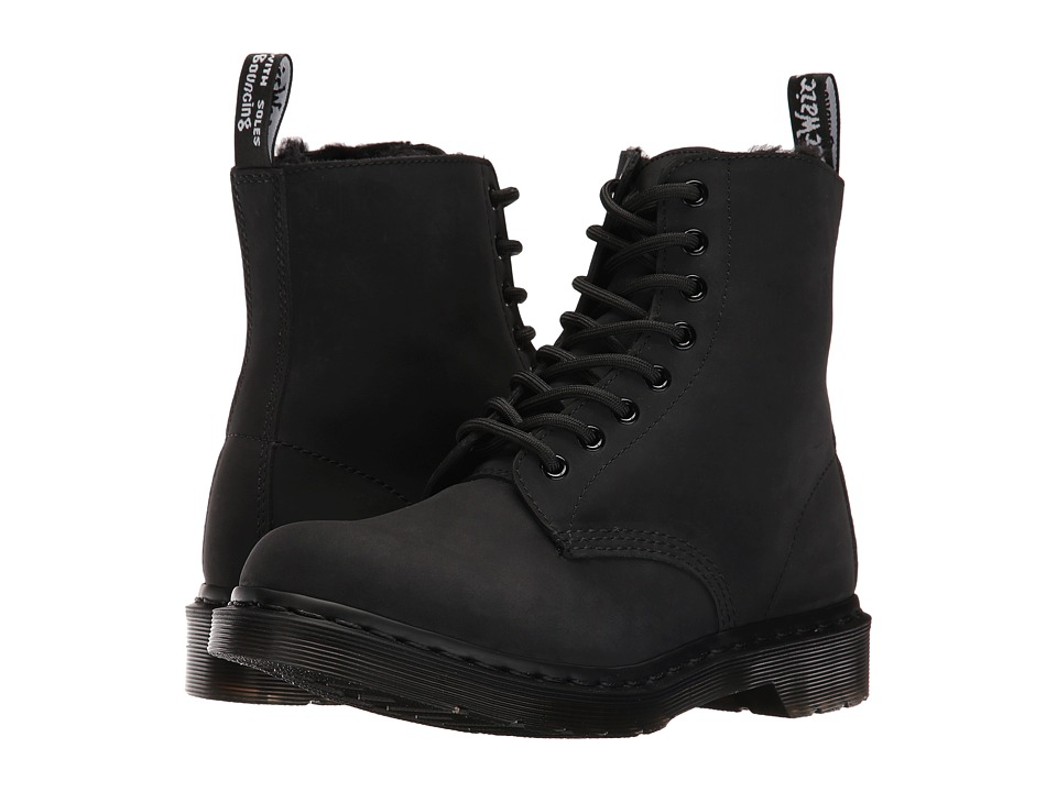 Dr. Martens - Pascal FL 8-Eye Boot (Black Cascade Split) Women's Lace-up Boots