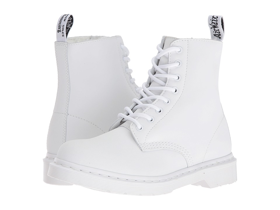 Dr. Martens - Pascal FL 8-Eye Boot (White Cascade Split) Women's Lace-up Boots