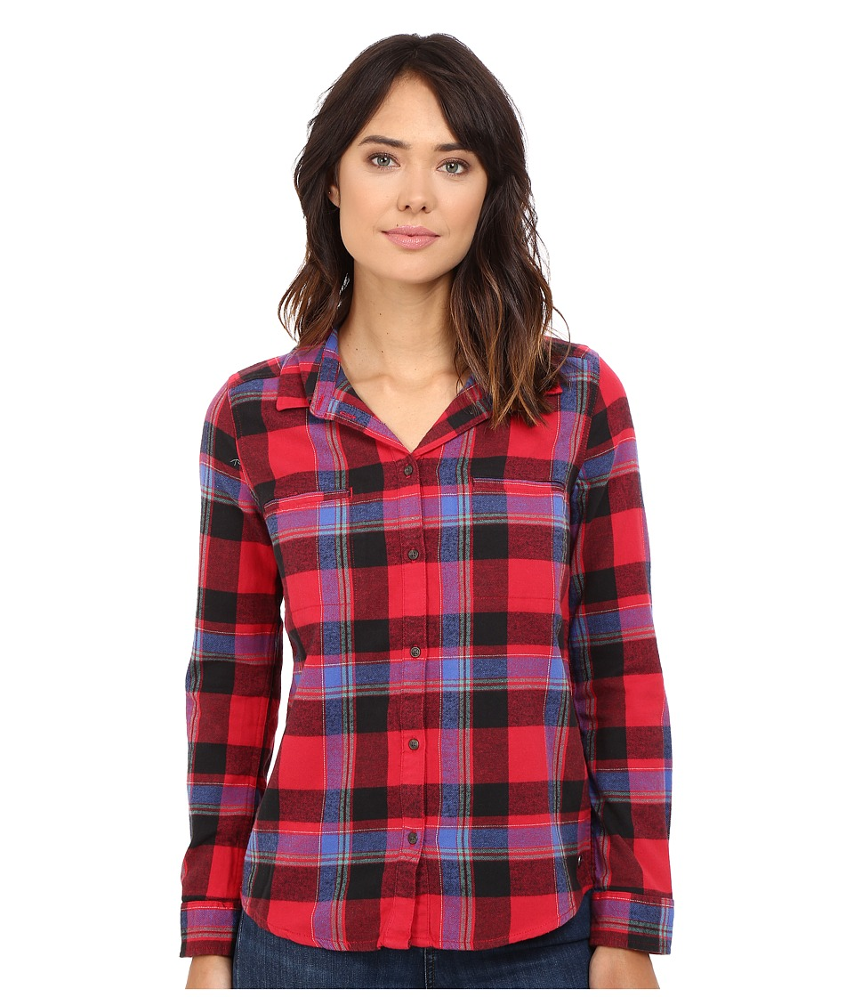 Roxy - Campay Long Sleeve Shirt (Moon Plaid Combo/Scarlet) Women's Long Sleeve Button Up