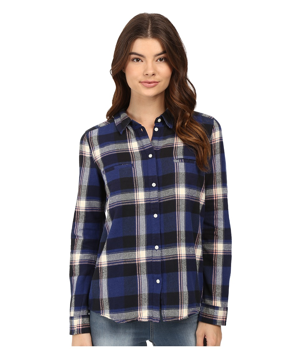 Roxy - Campay Long Sleeve Shirt (Moon Plaid Combo/Blue Print) Women's Long Sleeve Button Up