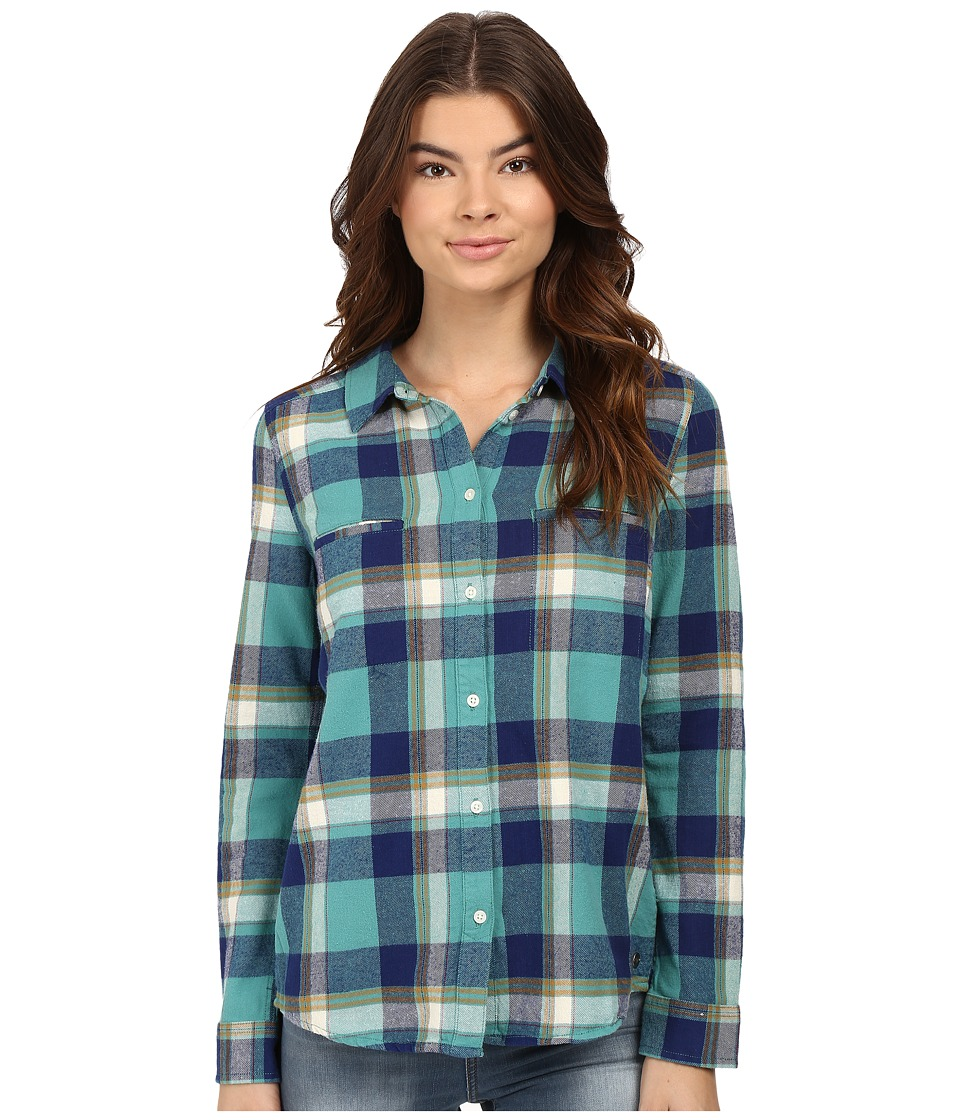 Roxy - Campay Long Sleeve Shirt (Giant Moon Plaid Combo/Green Blue) Women's Long Sleeve Button Up