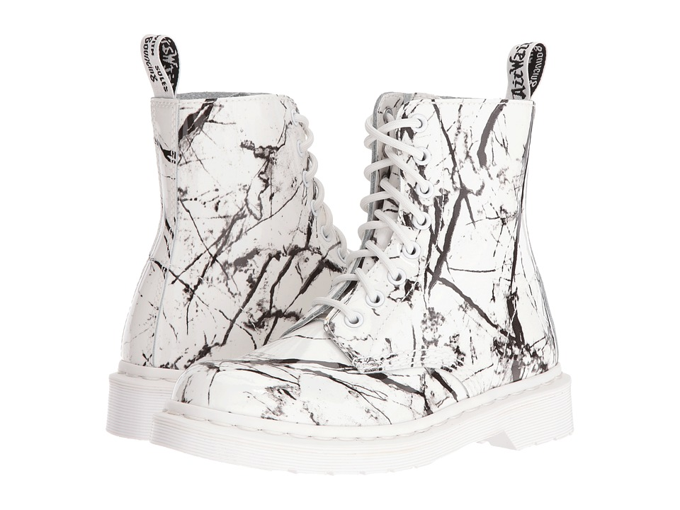 Dr. Martens - Pascal Marble 8-Eye Boot (White Patent Marble) Women's Lace-up Boots