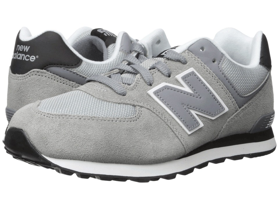 New Balance Kids 574 (Big Kid) (Grey/Black) Boys Shoes