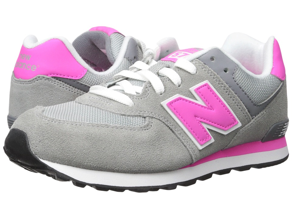 New Balance Kids - 574 (Big Kid) (Grey/Pink) Girls Shoes