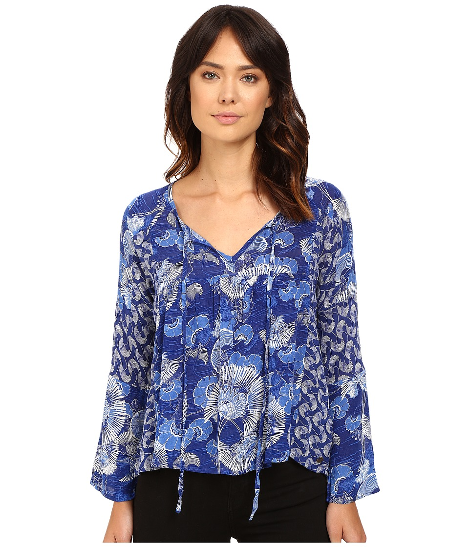 Roxy - Fade Into You Top (Perpetual Flower Blue Print) Women's Clothing