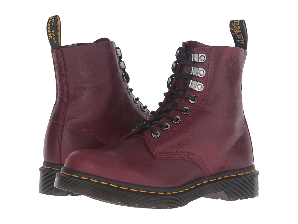 Dr. Martens - Pascal PM 8-Eye Boot (Wine Naturesse) Women's Lace-up Boots