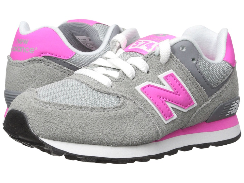 New Balance Kids - 574 (Little Kid) (Grey/Pink) Girls Shoes