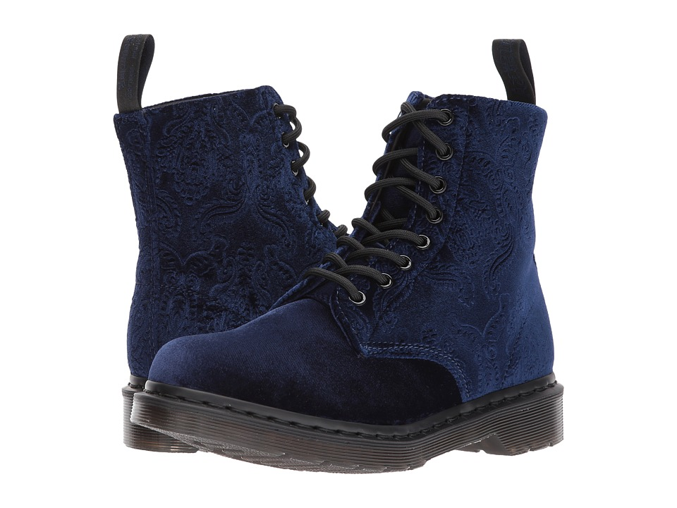 "Dr. Martens - Pascal Velvet 8-Eye Boot (Navy Velvet 56"") Women's Lace-up Boots"