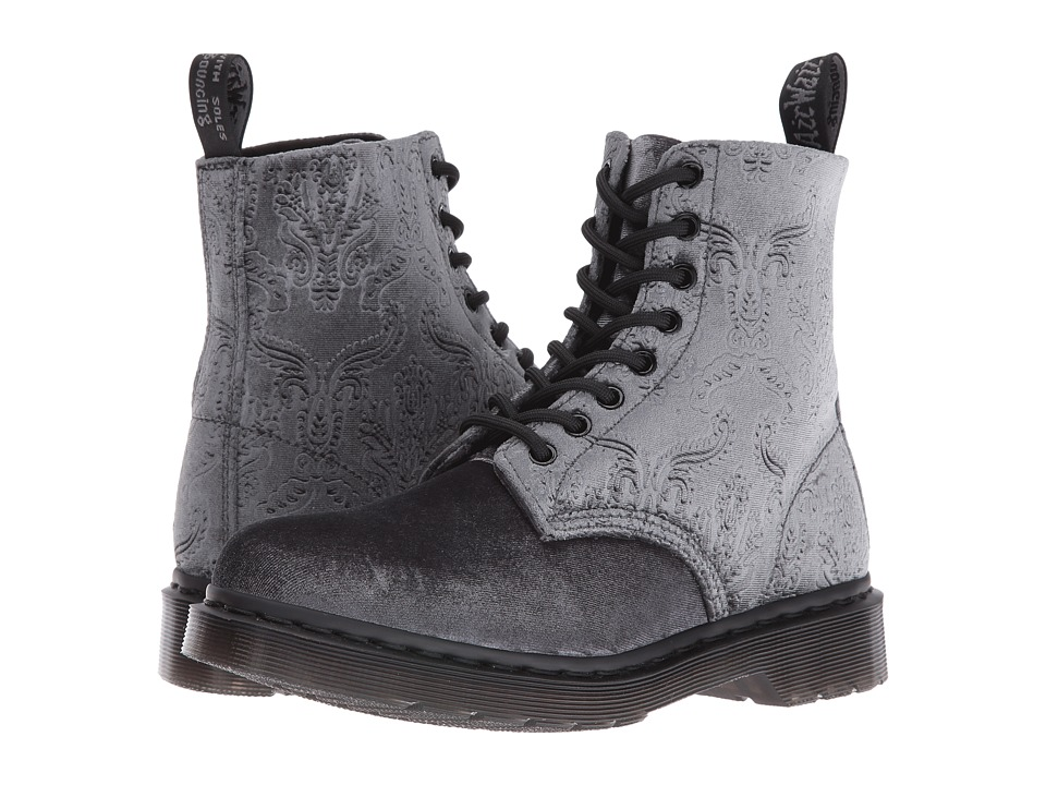"Dr. Martens - Pascal Velvet 8-Eye Boot (Grey Velvet 56"") Women's Lace-up Boots"