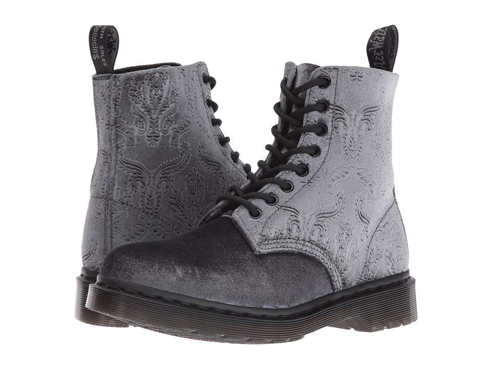 """""""Dr. Martens Pascal Velvet 8-Eye Boot (Grey Velvet 56"""""""") Women"""