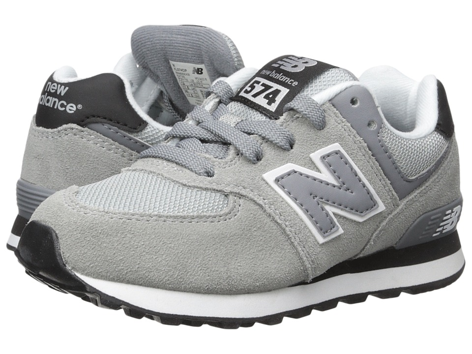 New Balance Kids - 574 (Little Kid) (Grey/Black) Kids Shoes