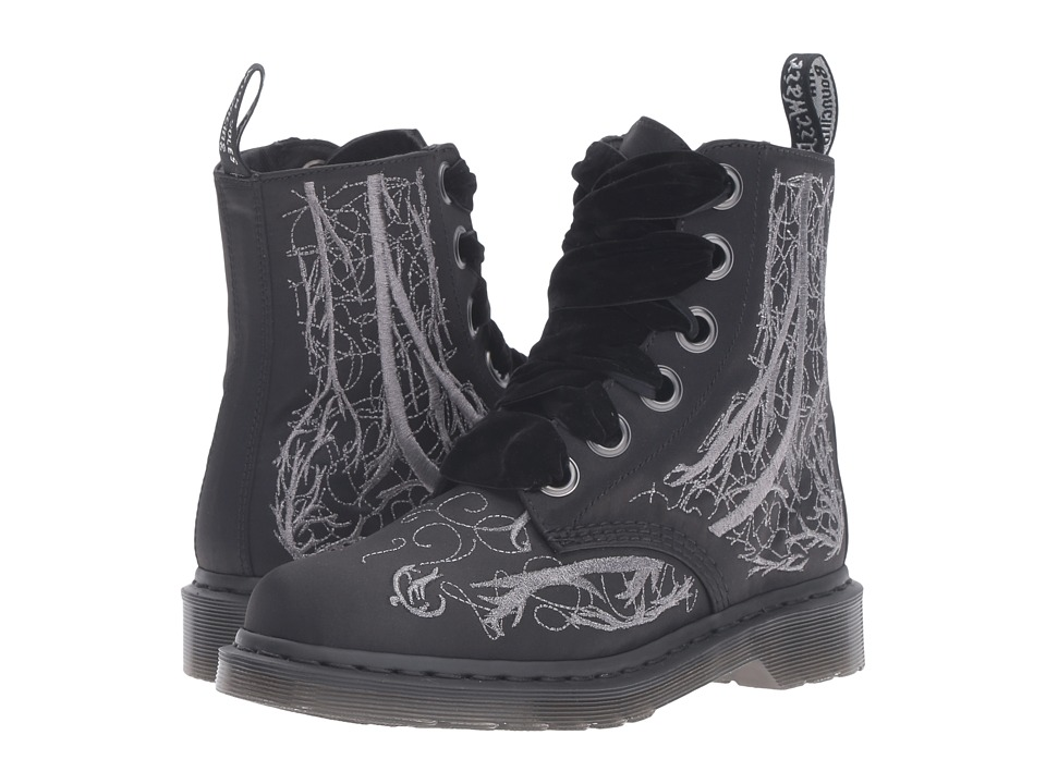 Dr. Martens - 1460 Vena Boot - Blood Vessel Silver Embroidery (Black Satin 250D) Women's Lace up casual Shoes