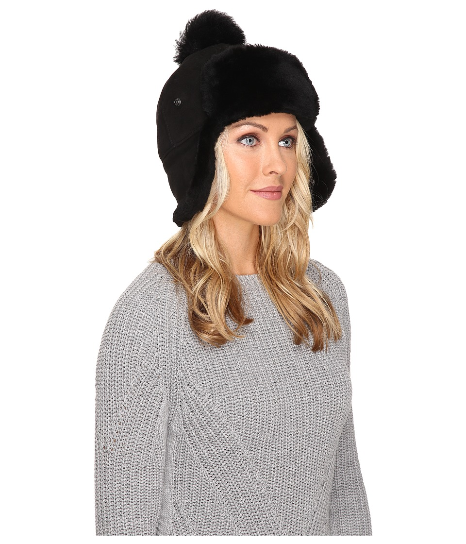 UGG - Sheepskin Pom Hat (Black) Cold Weather Hats