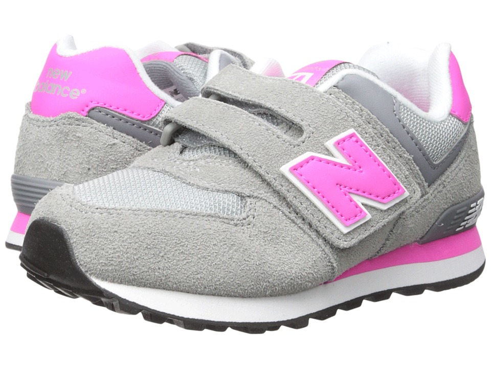 New Balance Kids 574 (Little Kid/Big Kid) (Grey/Pink) Girls Shoes