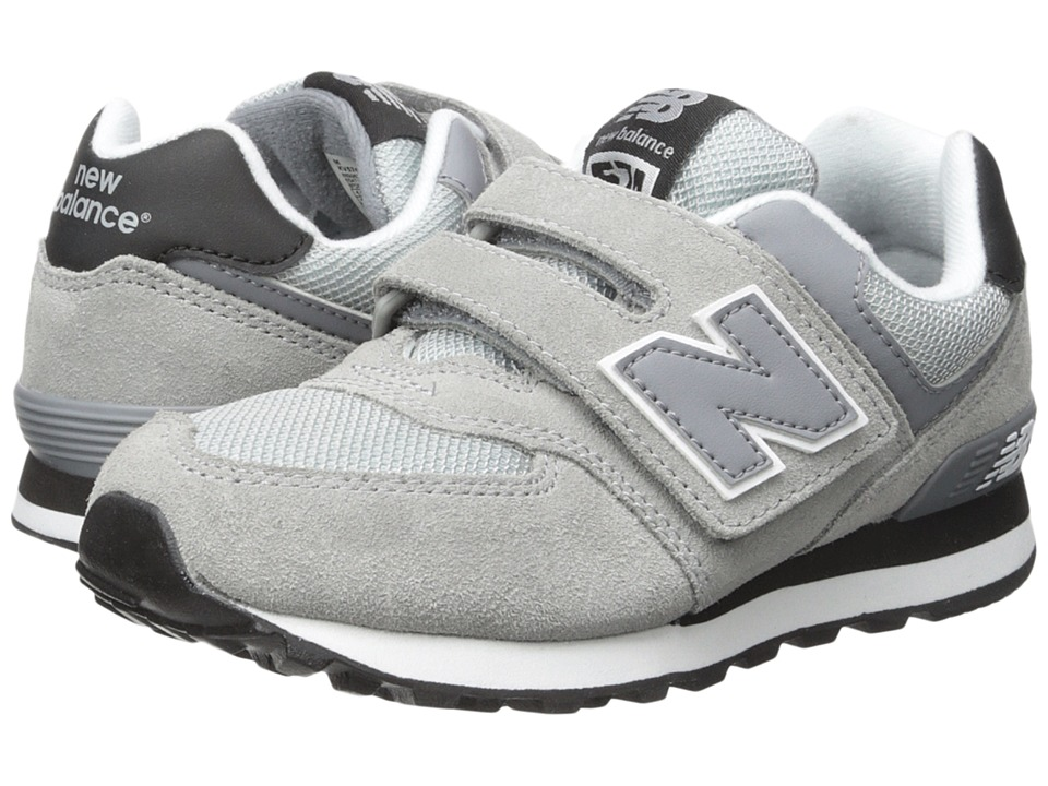 New Balance Kids 574 (Little Kid/Big Kid) (Grey/Black) Boys Shoes