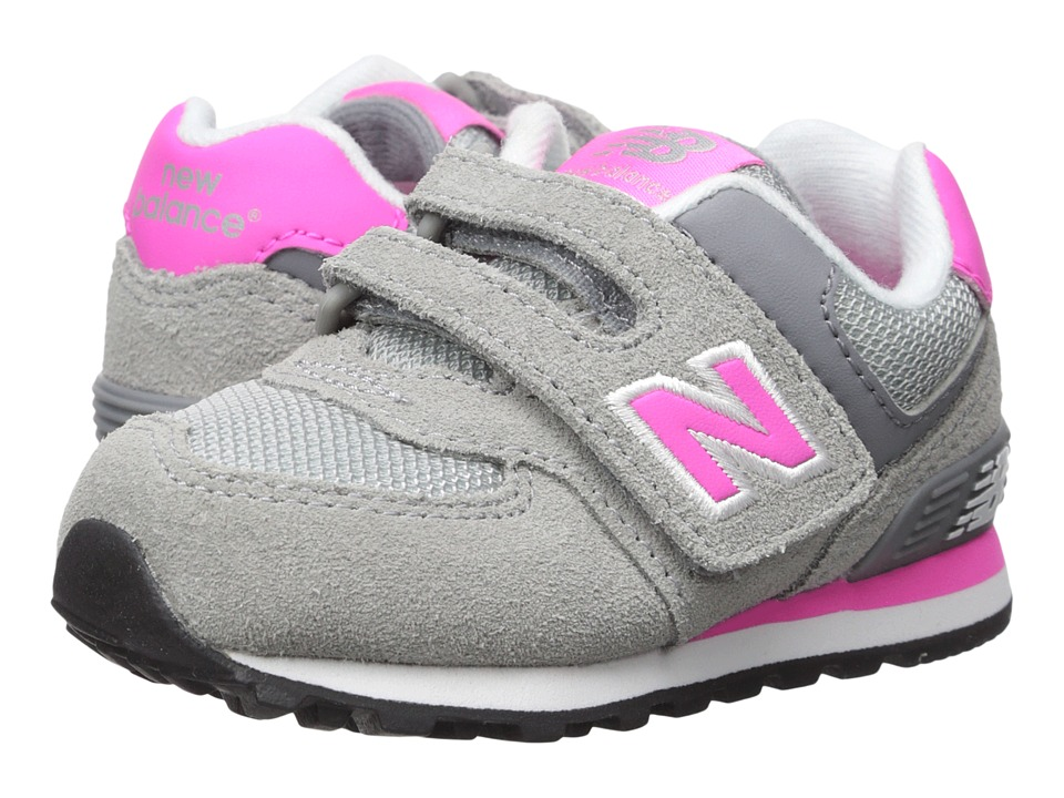 New Balance Kids - 574 (Infant/Toddler) (Grey/Pink) Girls Shoes