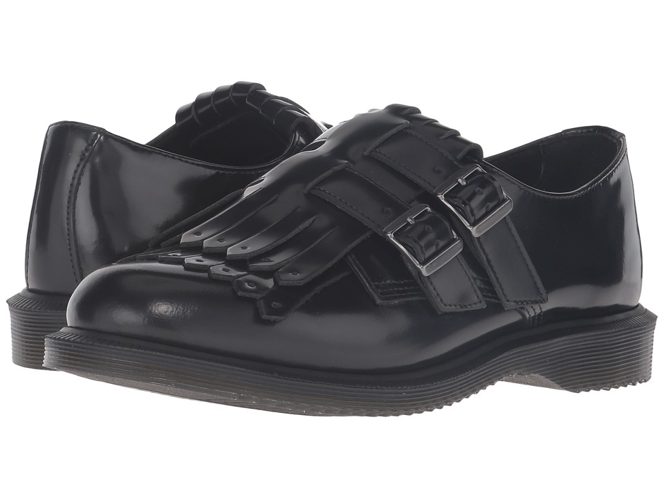 Dr. Martens - Ellaria Double Monk Strap w/ Kiltie (Black Polished Smooth) Women's Monkstrap Shoes