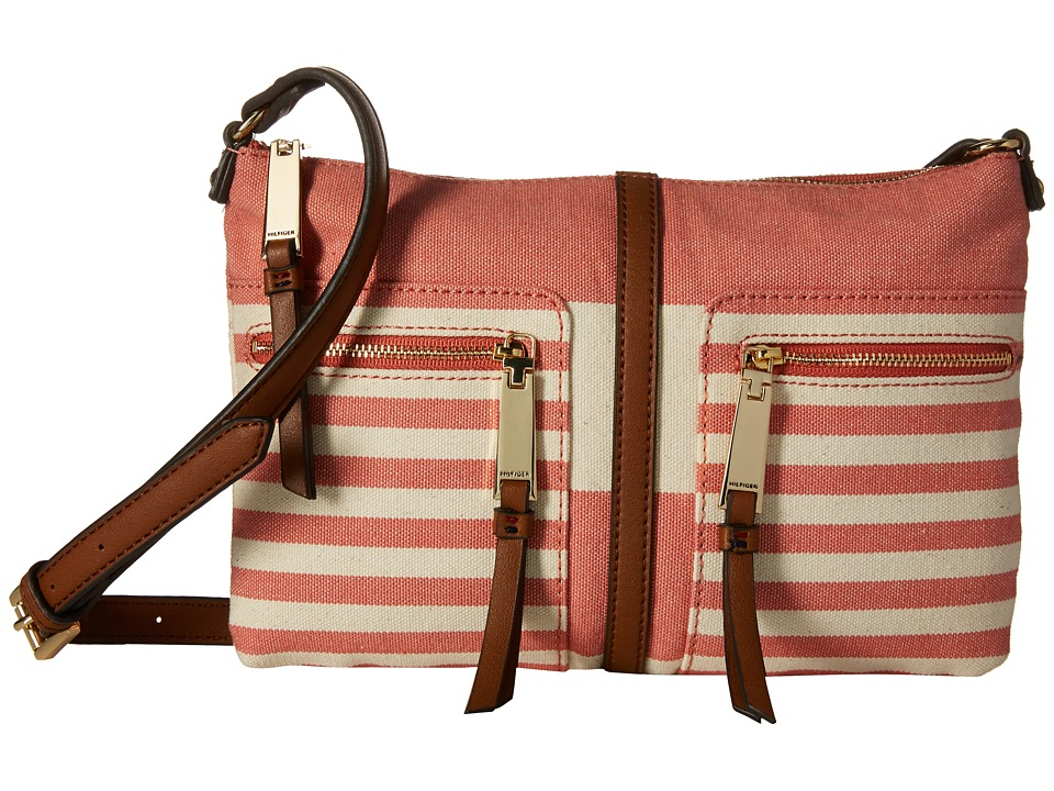 Tommy Hilfiger - Rugby Stripe Crossbody (Papaya/Natural) Cross Body Handbags