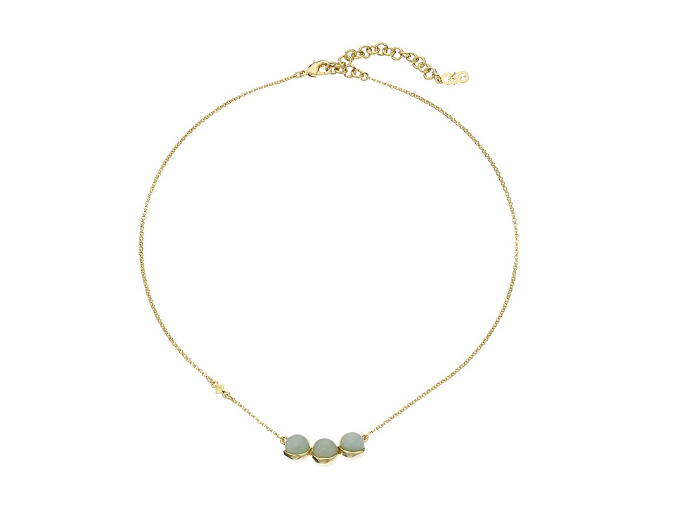 Cole Haan - Triple Stone Pendant Necklace (Gold/Amazonite/Green) Necklace