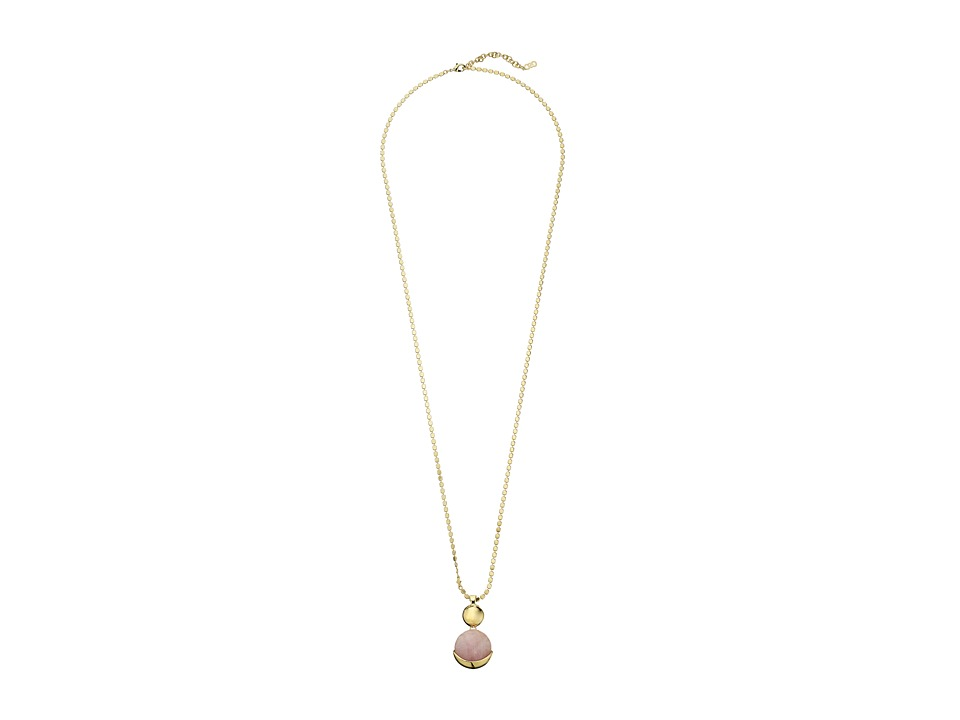 Cole Haan - Double Circle Pendant Necklace (Gold/Rose Quartz/Peach) Necklace