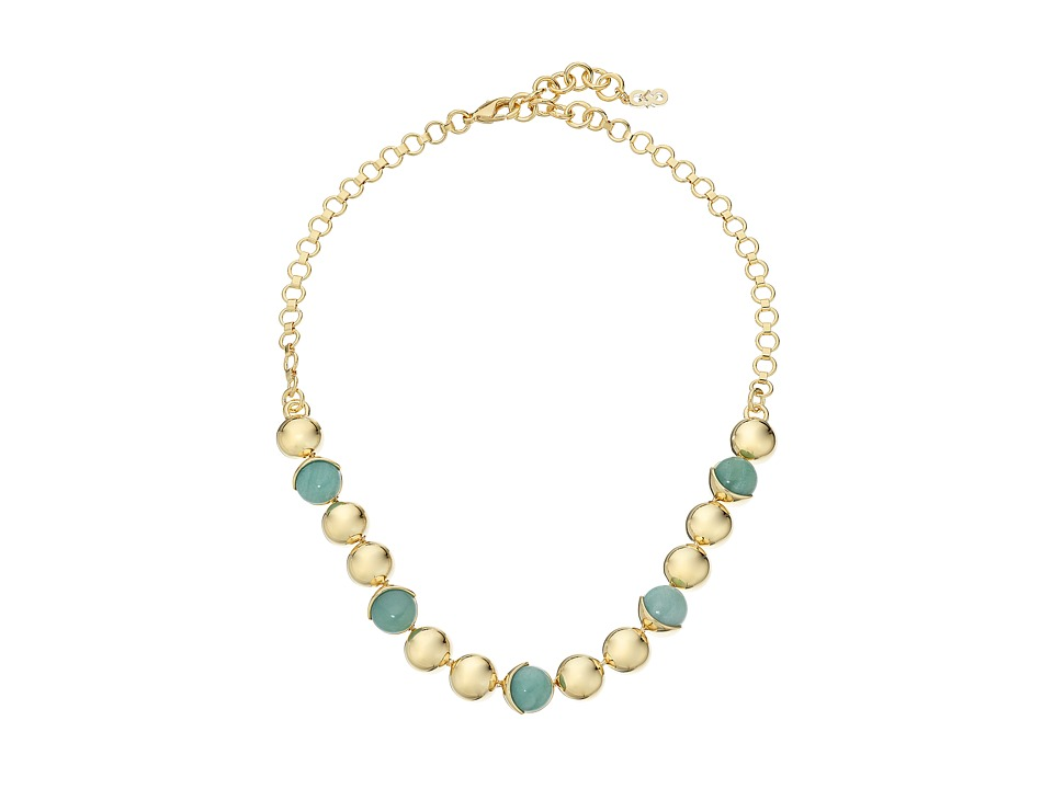 Cole Haan - Metal Stone Frontal Necklace (Gold/Amazonite/Green) Necklace