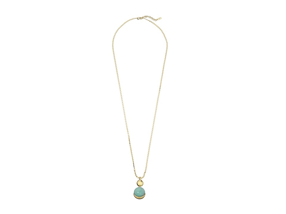 Cole Haan - Double Circle Pendant Necklace (Gold/Amazonite/Green) Necklace