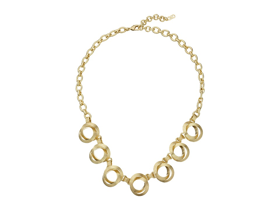 Cole Haan - Double Circle Frontal Necklace (Brushed Gold) Necklace