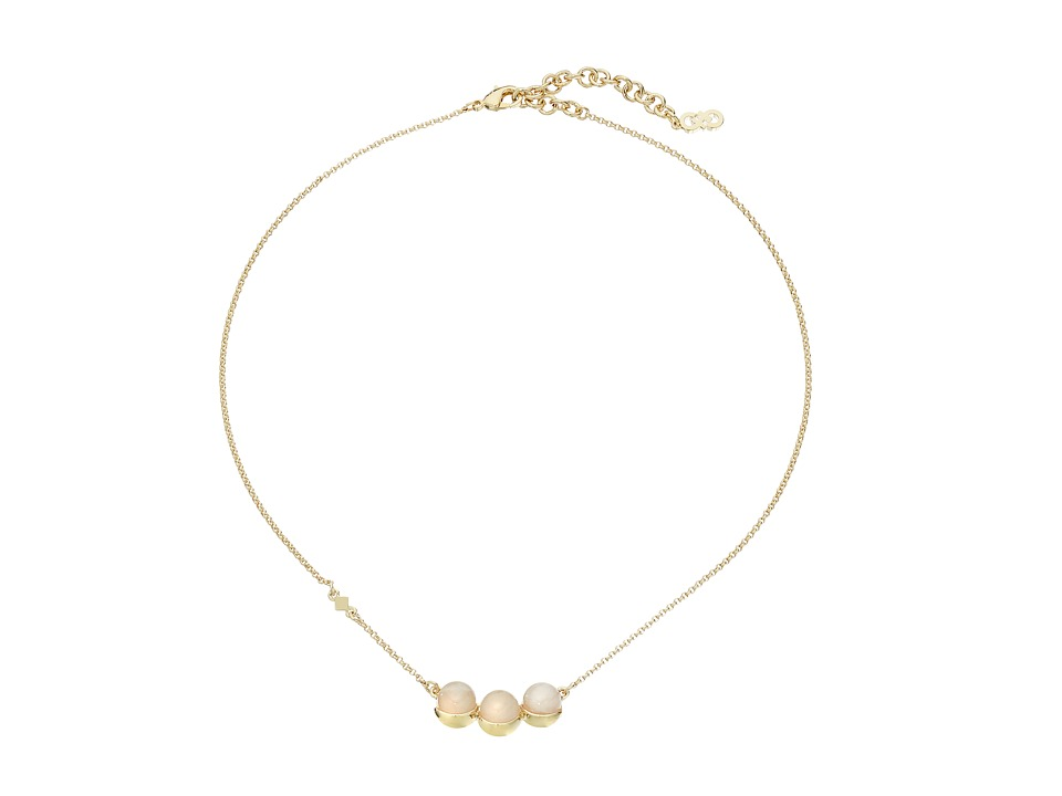Cole Haan - Triple Stone Pendant Necklace (Gold/Rose Quartz/Peach) Necklace