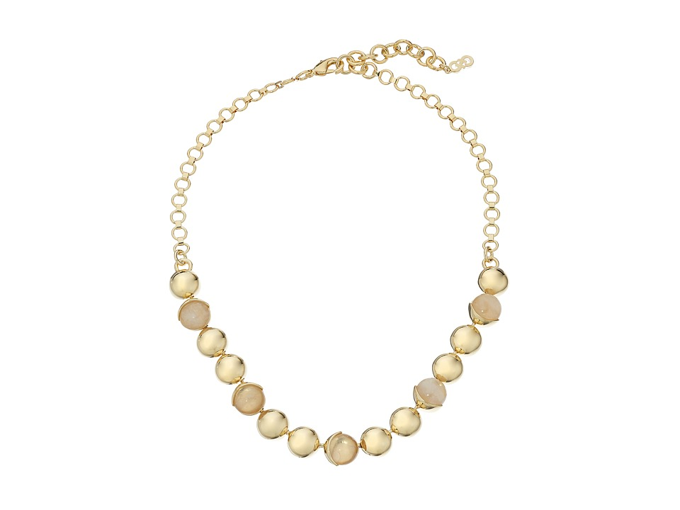 Cole Haan - Metal Stone Frontal Necklace (Gold/Rose Quartz/Peach) Necklace