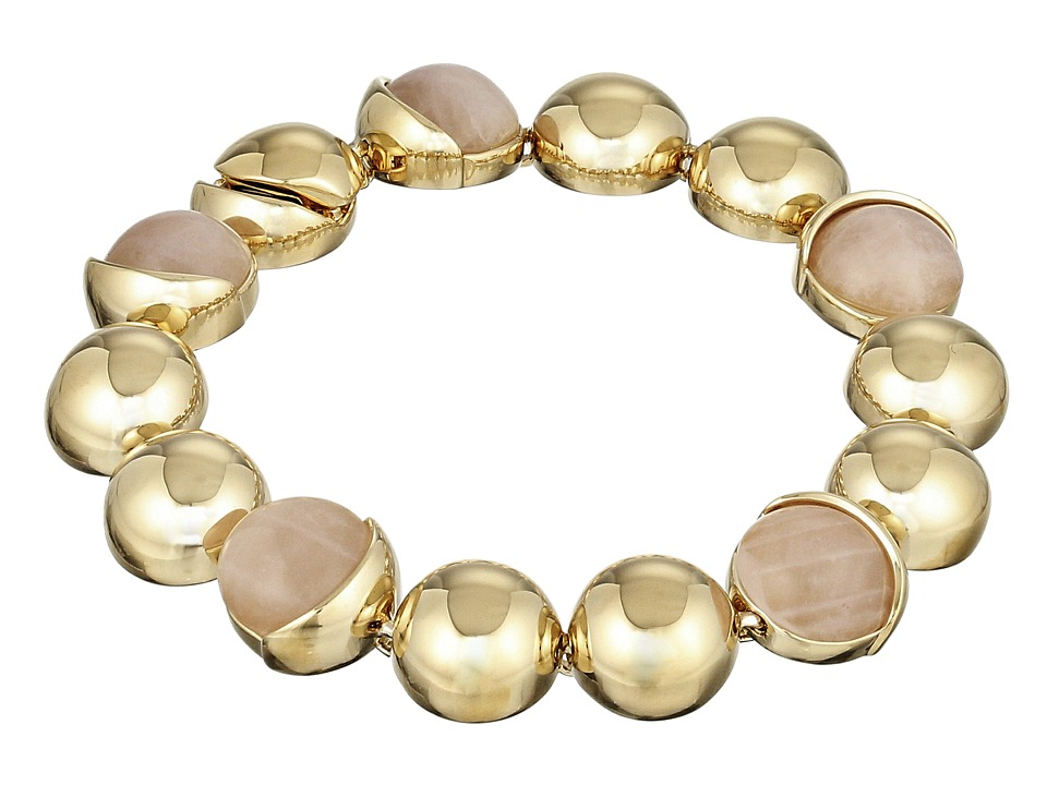 Cole Haan - Metal Stone Line Bracelet (Gold/Rose Quartz/Peach) Bracelet