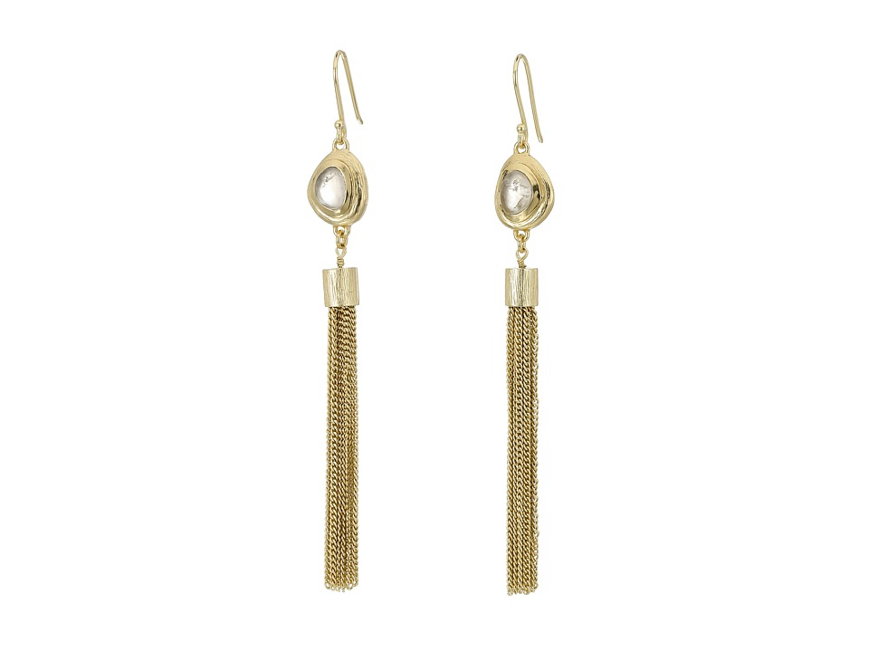 Cole Haan - Gold Tassel Pink Stone Drop Earrings (Brushed Gold/Rose Quartz) Earring