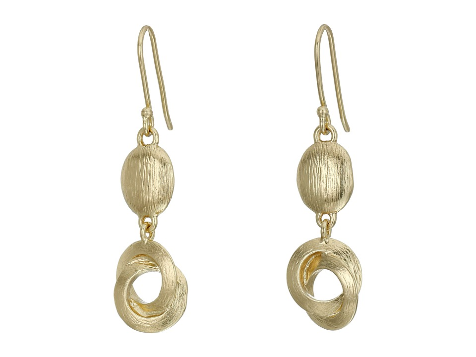 Cole Haan - Metal Double Drop Earrings (Brushed Gold) Earring