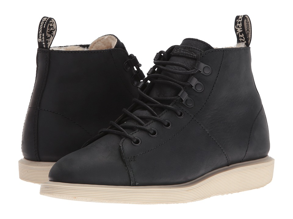Dr. Martens - Fur Lined Les Boot (Black Burnished Wyoming) Women's Lace-up Boots