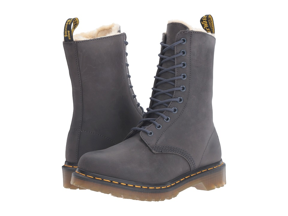 Dr. Martens - 1490 FL 10-Eye Boot (Graphite Grey Wildhorse) Women's Lace-up Boots