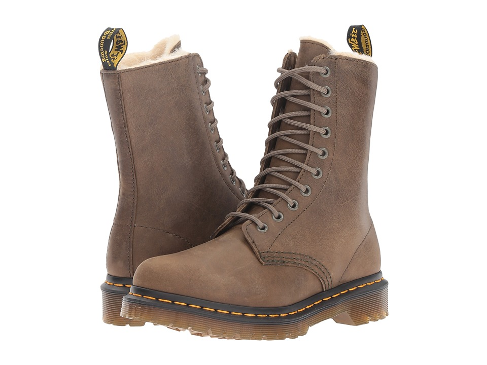 Dr. Martens - 1490 FL 10-Eye Boot (Grenade Green Wildhorse) Women's Lace-up Boots