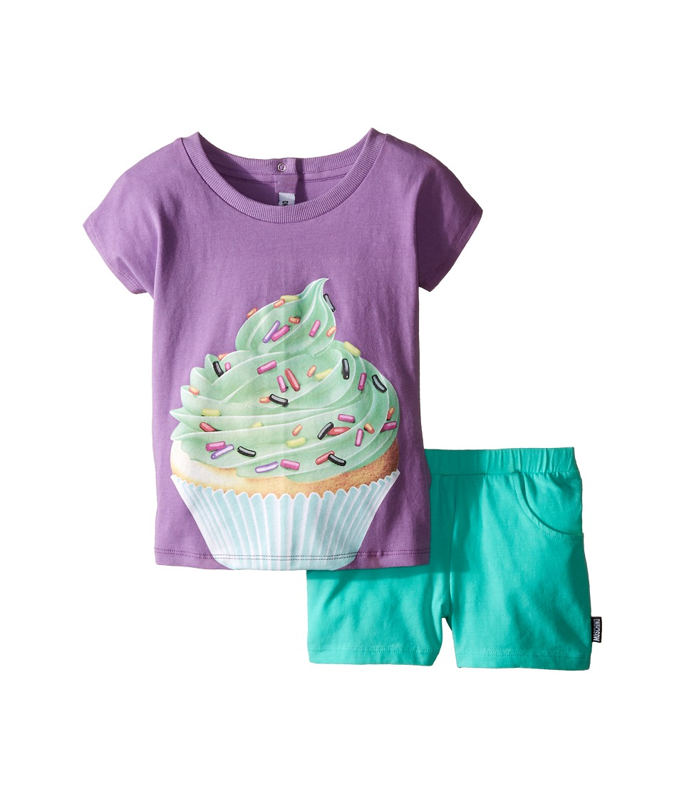 Moschino Kids - Cupcake Graphic T-Shirt and Shorts Set (Infant/Toddler) (Purple) Girl's Active Sets