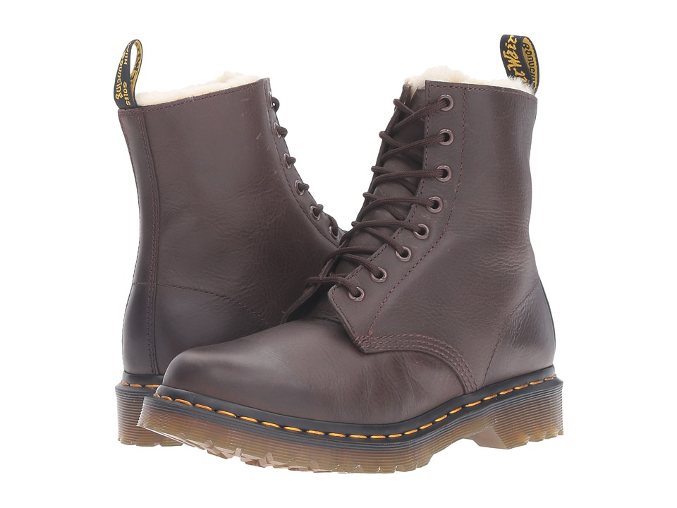 Dr. Martens - Serena 8-Eye Boot (Dark Brown Burnished Wyoming) Women's Lace-up Boots