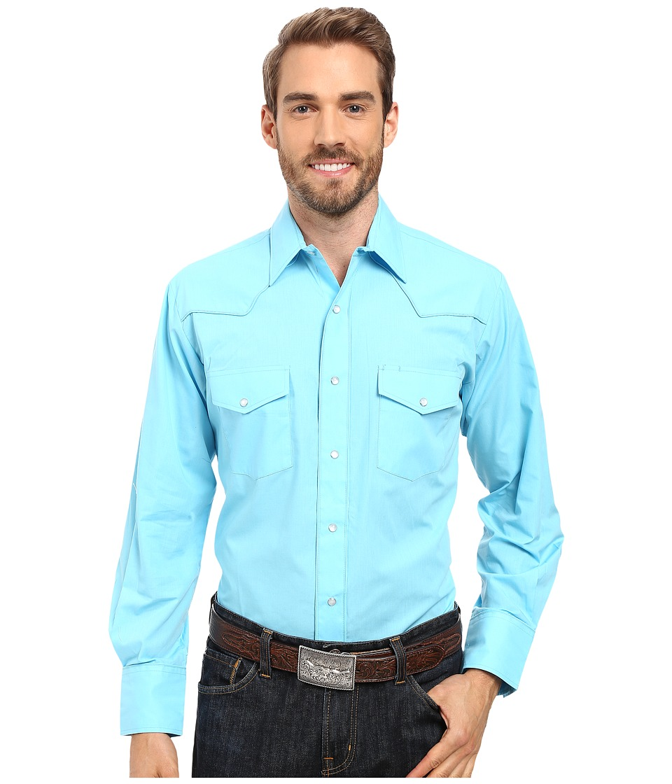 Roper - 0487 Solid Broadcloth - Turquoise (Blue) Men's Clothing