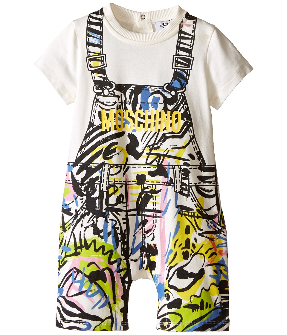 Moschino Kids - Short Sleeve Print Romper (Infant) (Black/Yellow) Boy's Jumpsuit & Rompers One Piece