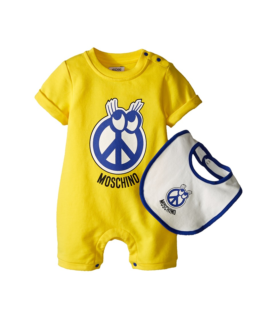 Moschino Kids - Romper and Bib Gift Box (Infant) (Yellow) Boy's Jumpsuit & Rompers One Piece