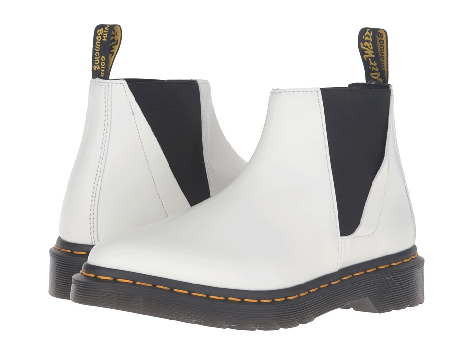 Dr. Martens - Bianca Low Shaft Zip Chelsea (White Polished Smooth) Women's Pull-on Boots