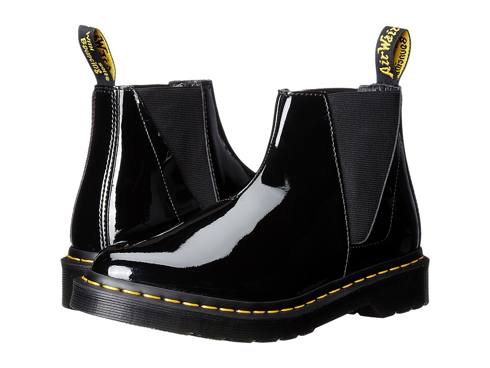 Dr. Martens - Bianca Low Shaft Zip Chelsea (Black Patent Lamper) Women's Pull-on Boots