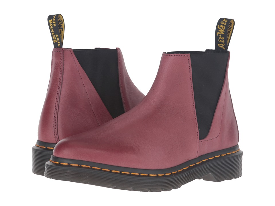 Dr. Martens - Bianca Low Shaft Zip Chelsea (Wine Antique Milled Brunido) Women's Pull-on Boots